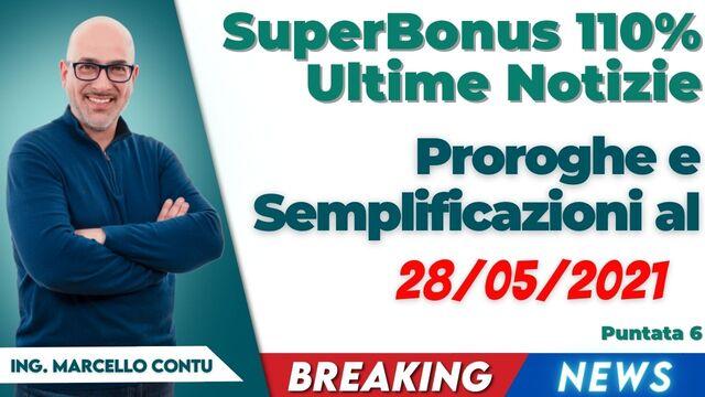 SuperBonus 110 Ultime Notizie: Proroghe e Semplificazioni al 28/05/2021